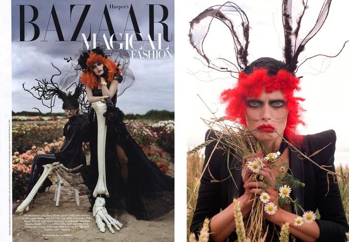 2009, Evelina Mambetova, halloween, Harper's Bazaar, Models, Models, Malgosia Bella, Photographers, Photographers, Tim Walker, tim burton
