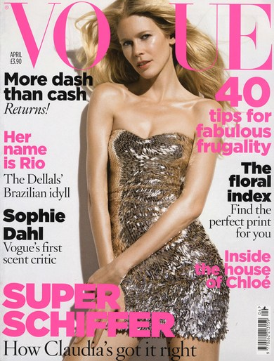 2009, Claudia Schiffer, cover, Models, Photographers, Photographers, Patrick Demarchelier, Vogue UK, Vogue UK, April