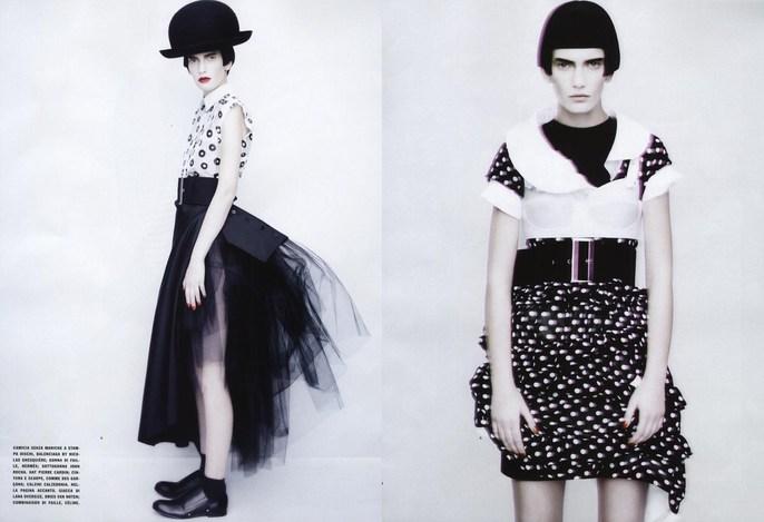 2011, black, dots, Models, Models, Valerija Kelava, Photographers, Photographers, Paolo Roversi, stripes, Vogue Italia, Vogue Italia, February, white