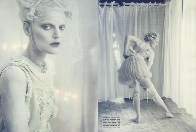 2010, ballet, Guinevere Van Seenus, Models, Models, Sasha Pivovarova, Photographers, Photographers, Paolo Roversi, Vogue Italia, Vogue Italia, April, white
