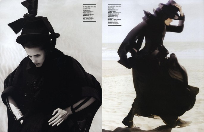2008, beach, dunes, Edita Vilkeviciute, Models, Photographers, Photographers, Josh Olins, Vogue China, Vogue China, November