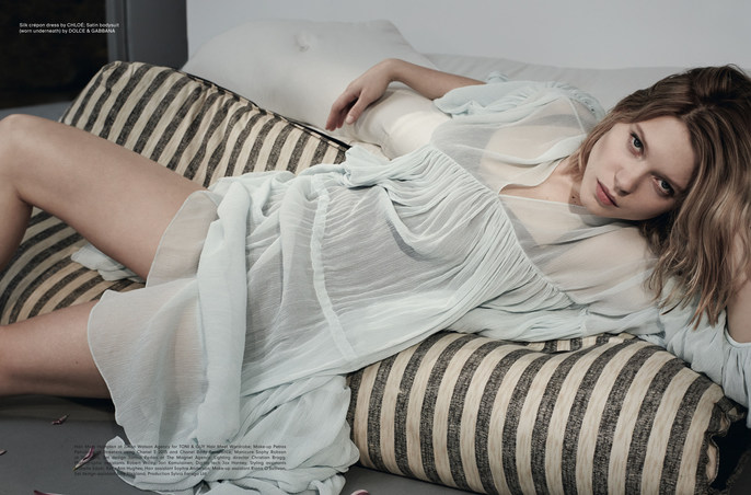 Another Magazine, lea seydoux, makeup, nails, Petros Petrohilos, Sophy Robson