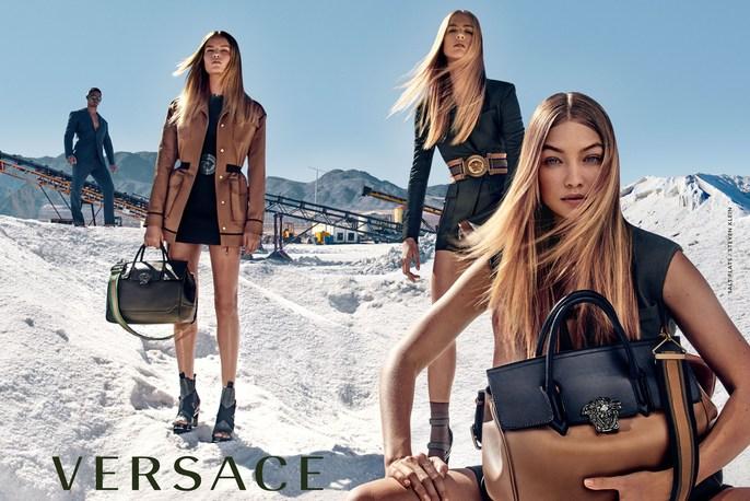 Jacob K, Versace, styling, lucia pieroni, makeup, Gigi Hadid, Andrea Stanley, SS 2016, source: Versace SS16