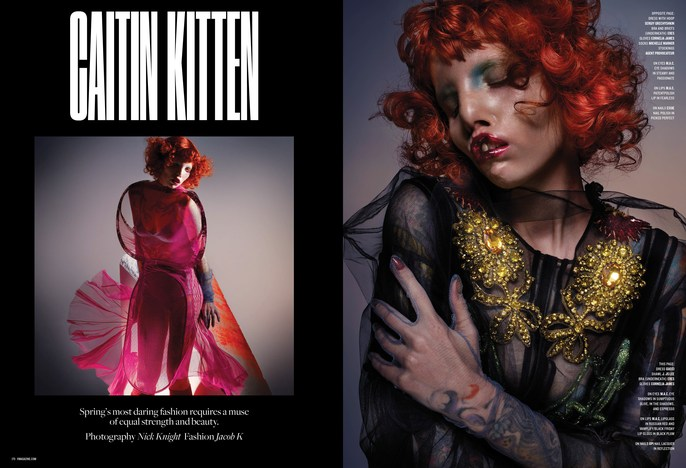 Jacob K, Laura Dominique, hair, V Magazine, Nick Knight, source: Martin Cullen, set design, styling, andrew tomlinson, makeup, Spring 2017, caitin kitten
