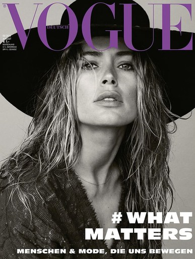 Anja Rubik, Doutzen Kroes, edie campbell, Editorial, Daniel Jackson, Petros Petrohilos, makeup, Vogue Germany, Magazine Cover
