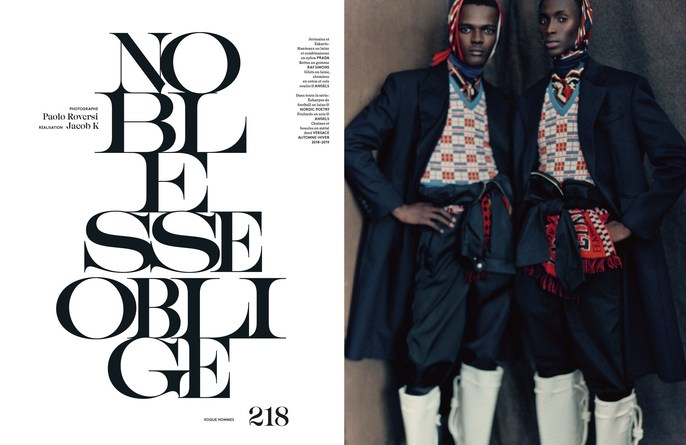 Jacob K, hair, martin cullen, styling, Paolo Roversi, Vogue Hommes, 18SS