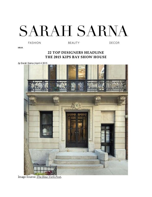 Sarah Sarna Interior Design, April 4th, 2015