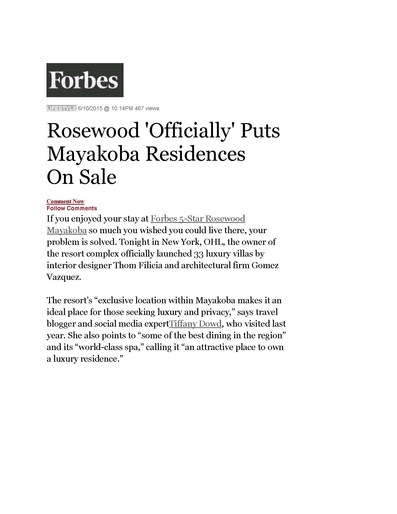 Forbes Online, June 10th 2015 -