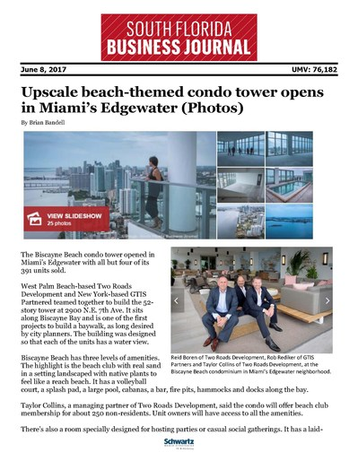 South Florida Business Journal: Biscayne Beach Opening -